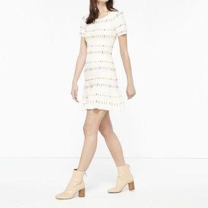 Sandro Paris Riley Fit and Flare Cream Dress